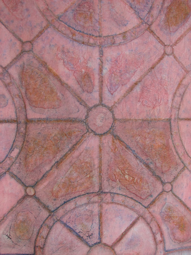 Painted linen over tile